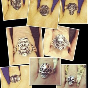 Other - Silver Skull Ring Bundle Various Sizes